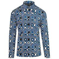 NEW MADCAP RETRO MOD MENS 60s 70s Sixties SHIRT TRIP OP ART BLUE/BLACK MC201
