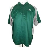 Mizuno Jacket Men Size Medium 1/4 Zip Pullover Short Sleeve Vented Green Jacket