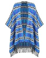 WOMENS TASSEL FRINGE PONCHO CAPE BLANKET OPEN FRONT KNITTED SHAWL WRAP CARDIGAN