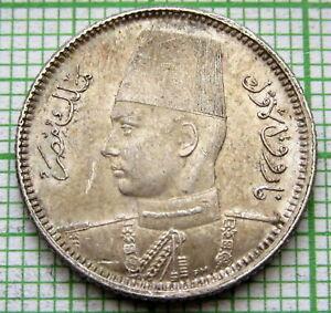 EGYPT FAROUK 1937 - AH 1356 2 PIASTRES, SILVER TOP GRADE NICE PATINA