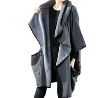 Asymmetrisch Poncho Jacke Fledermausärmeln Damen Oversize Gefüttert Trenchcoat L