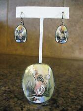 Very Unusual Ceramic Artisan Pin Brooch & Pierced Earrings / Baby in the Womb?