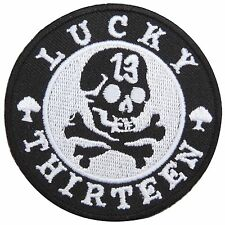 Lucky 13 Skull Crossbones Spade Biker Motorcycles Rockabilly Iron on Patch #1610