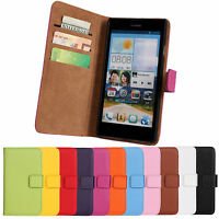 Luxury Genuine Leather Flip Stand Case Wallet Cover For Huawei Ascend G700
