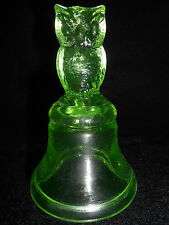 Green Vaseline glass Woodsie OWL Hand Bell / Bird uranium figurine yellow canary