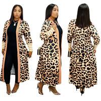 New Fall&Winter Women Leopard Print Long Sleeves Casual Cardigan Coat Outerwear