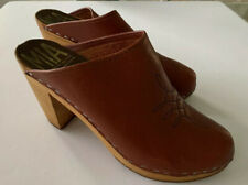 Mia Swedish Platform Mules Wooden Clog Heel Slide Closed Toe Brown Tan Size 37