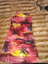 Red Hawaiian Aloha Tropical Sunset Palm Tree Print Beach Midi Halter Neck Dress,