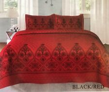 FLOWERS BLACK/RED EMBROIDERED BEDSPREAD COVERLET SET 3 PCS QUEEN SIZE