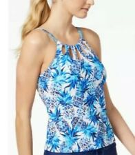 24th & Ocean High Neck Adjustable Neckline Tankini Swimsuit Top Medium NWT $55