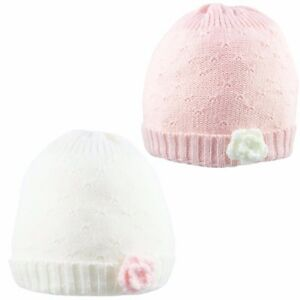 Baby Girl Beanie Hat Cap With Flower Winter Knitted Warm Cotton Lining 0-6 Month