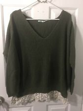KIMCHI BLUE Green Cotton Blend Lace Trim V Neck Sweater Size S Urban Outfitters