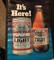 1982 Vintage  Poster Budweiser Light Its Here Can Bottle Full Size