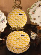 "Kate Spade Lenox Wickford Dachshund 4 Yellow Accent Luncheon Plates 9.2"" 23cm"