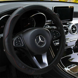 CAR STEERING WHEEL COVER PROTECTOR UNIVERSAL PERFORATED PU LEATHER BLACK UK