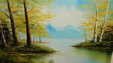 LARGE OIL ON CANVAS LANDSCAPE PAINTING SIGNED CHEN