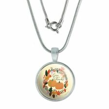 """Pendant w/ Silver Plated Chain Give Thanks with Pumpkins Thanksgiving 0.75"""""""