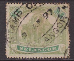 Selangor $1 Green & Yellow-Green SG61 Used One Dollar 1895-99 Stamp - Malaya