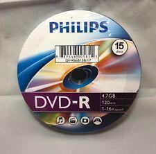 NEW PHILIPS 15 DISCS DVD-R 4.7GB 120 MIN 1-16X SPEED