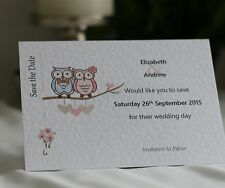 50 Personalised Wedding Save the Date Cards with Envelopes - Owl