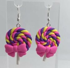 Large Purple pink bow Swirl Lollipop Lolly Pendant Earrings Fimo Kitsch  H040