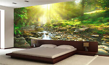 Photo Wallpaper River Green Forest GIANT WALL DECOR PAPER POSTER MURAL FREE Glue