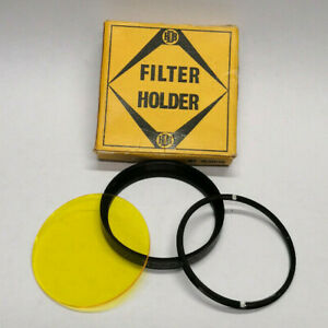 Vintage 1960s Actina BDB Super-Scru 52mm Lens Filter + 50mm Yellow Filter Glass