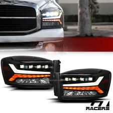 For 2006-2009 Dodge Ram Black Full LED Sequential Tube Quad Projector Headlights