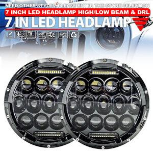 "2x 7"" Round 280W Total Car LED Headlights Hi/Lo For Jeep Wrangler JK TJ LJ 97-18"
