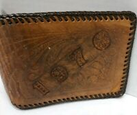 Vintage Handmade American Western Tooled Leather Billfold Wallet 1976