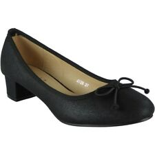 Womens Ladies Low Mid Heel Bow Comfy Office Work Casual Court Shoes Size UK 7 / EU 40 / US 9 Black