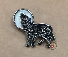 WHITE MOON HOWLING WOLF VEST PIN* FREE USA SHIP * MADE IN USA *