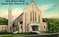 Vtg Postcard 1930s WHEELING WV St Michael's Catholic Church w/Tall Bell Tower