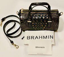 Brahmin Black Copper Gray Dusk Melbourne Claire Barrel Satchel Crossbody Bag NWT