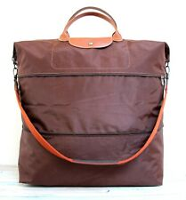 LONGCHAMP LE PLIAGE FRANCE EXPANDABLE BROWN NYLON LEATHER TRAVEL BAG DUFFEL TOTE