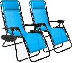 Pool Chair Set of 2 Lounge Chair Recliners w/ Pillows and Cup Holder Trays