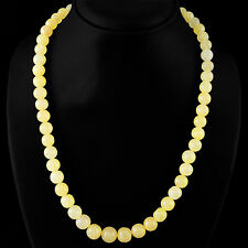 602.00 CTS NATURAL 3 LINE YELLOW AVENTURINE ROUND SHAPE BEADS NECKLACE RS
