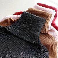 Basic Turtleneck Glitter Sweater Women Knit Ribbed Slim Pullover Autumn Winter