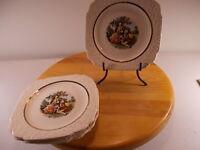 4 Vintage Floral Design With Gold Trim Harker Early American Salad/desert Plates