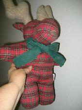 """Vtg 18"""" PIER 1 Green Red TARTAN Plaid Flannel CHRISTMAS MOOSE Plush Corduroy Bow"""