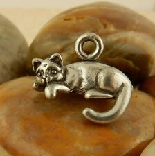 2 Pewter 3D Kitty Cat, kitten pendant, charm, charms