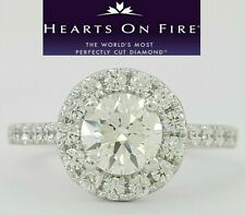 Hearts On Fire HOF 1.19 ct Diamond Halo Engagement Ring Transcend Ideal Triple 0