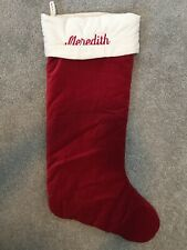 "Pottery Barn Velvet Extra Large Red White Cuff Christmas Stocking MONO ""Meredith"