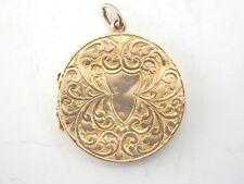 Antique Art  Nouveau 9ct Rose Gold Decorative  Locket Pendant 8.2g