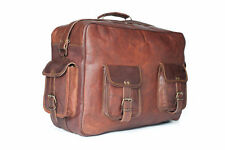Vintage leather handmade overnight style messenger satchel bag briefcase 16""