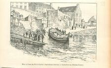 Barque des Sauveteurs Bretons Saint-Servan Saint-Malo Bretagne GRAVURE 1905
