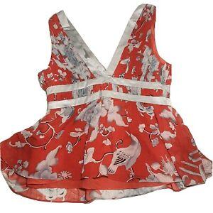 NWT 100% Silk ARDEN B Top Scarlet Red Oriental Charm Trim Tank Size L Retail $78