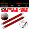 "2 pcs 17"" Red Amber 72 LED Chrome Truck Trailer Stop Turn Tail Running Light Bar"