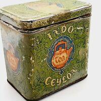 Vintage Indo Ceylon drink tea empty antique tin box 1930's