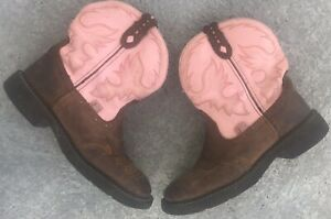 Women's Justin Gypsy Gemma Pink & Brown Leather Cowboy Boots Size 9 B